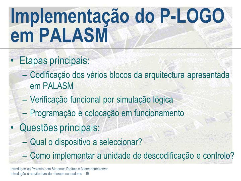 Introdução ao Projecto com Sistemas Digitais e Microcontroladores Introdução à arquitectura de microprocessadores - 19 Implementação do P-LOGO em PALA