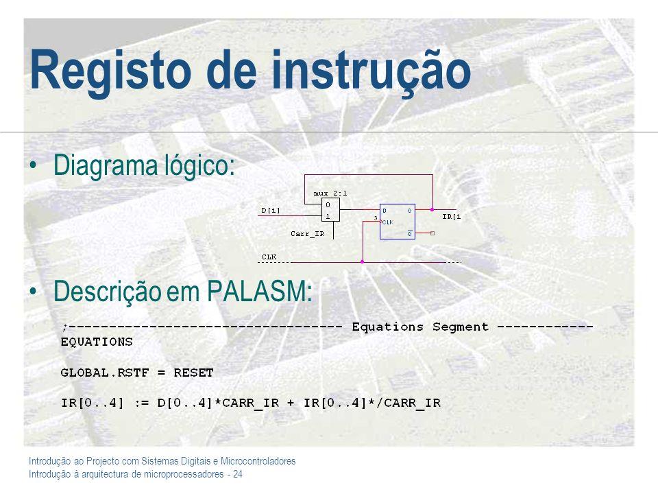 Introdução ao Projecto com Sistemas Digitais e Microcontroladores Introdução à arquitectura de microprocessadores - 24 Registo de instrução Diagrama lógico: Descrição em PALASM: