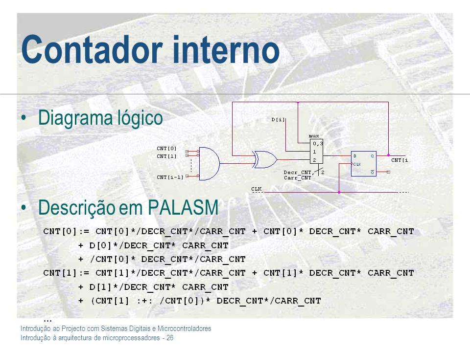 Introdução ao Projecto com Sistemas Digitais e Microcontroladores Introdução à arquitectura de microprocessadores - 26 Contador interno Diagrama lógico Descrição em PALASM