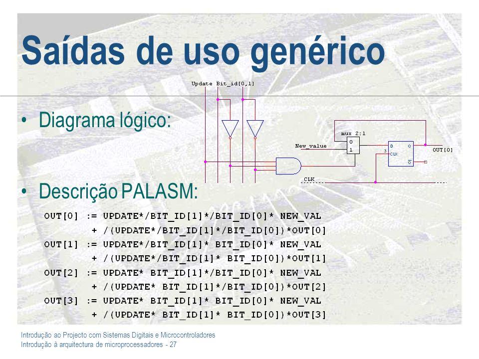 Introdução ao Projecto com Sistemas Digitais e Microcontroladores Introdução à arquitectura de microprocessadores - 27 Saídas de uso genérico Diagrama lógico: Descrição PALASM: