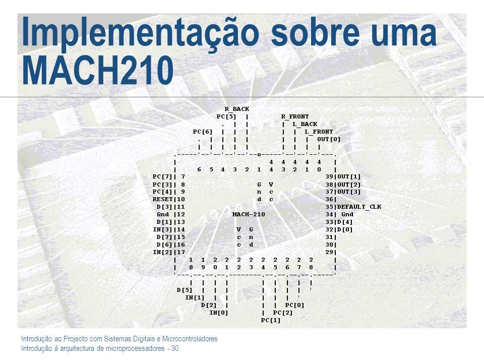 Introdução ao Projecto com Sistemas Digitais e Microcontroladores Introdução à arquitectura de microprocessadores - 30 Implementação sobre uma MACH210