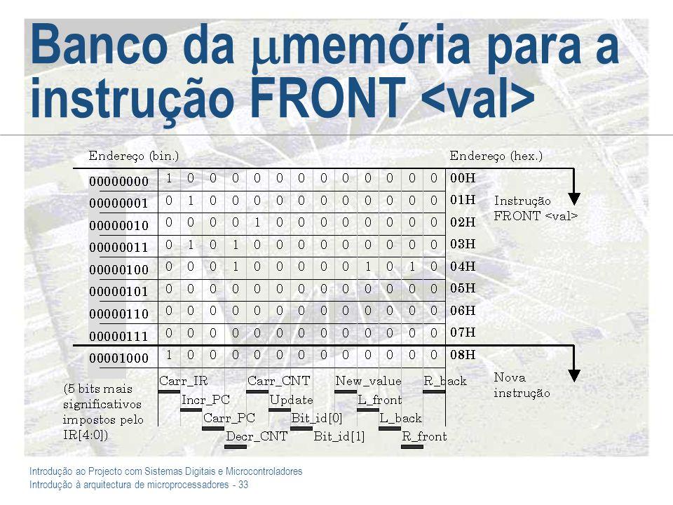 Introdução ao Projecto com Sistemas Digitais e Microcontroladores Introdução à arquitectura de microprocessadores - 33 Banco da memória para a instrução FRONT
