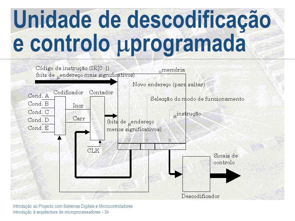 Introdução ao Projecto com Sistemas Digitais e Microcontroladores Introdução à arquitectura de microprocessadores - 34 Unidade de descodificação e con