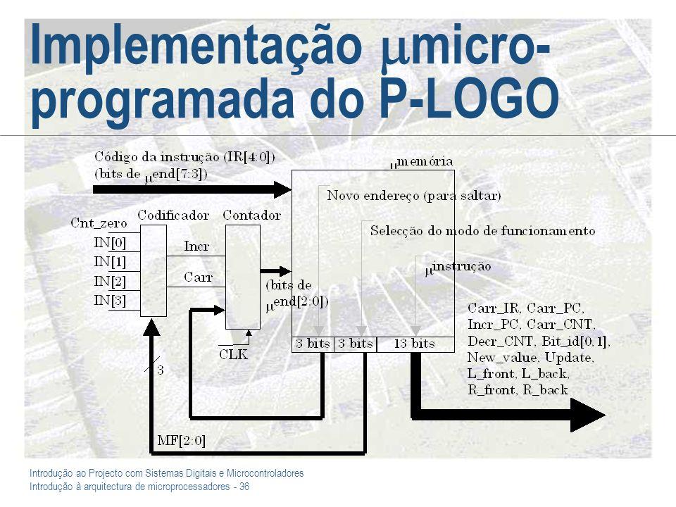 Introdução ao Projecto com Sistemas Digitais e Microcontroladores Introdução à arquitectura de microprocessadores - 36 Implementação micro- programada do P-LOGO