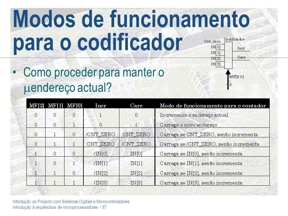 Introdução ao Projecto com Sistemas Digitais e Microcontroladores Introdução à arquitectura de microprocessadores - 37 Modos de funcionamento para o codificador Como proceder para manter o endereço actual
