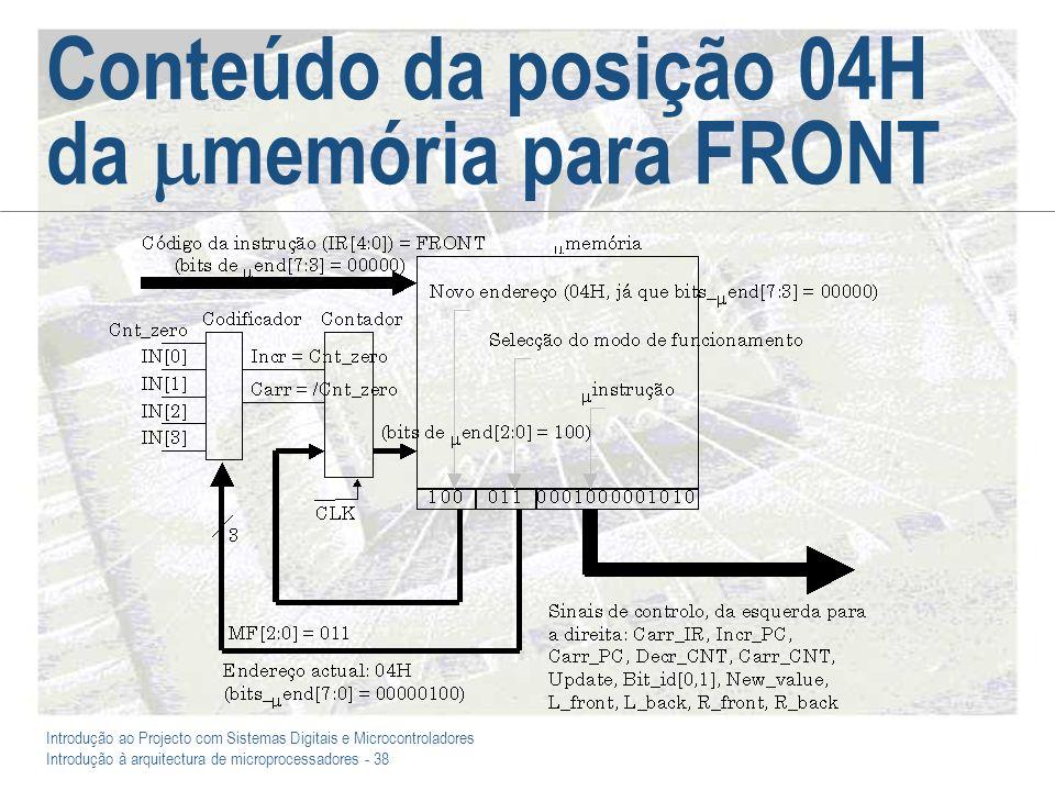 Introdução ao Projecto com Sistemas Digitais e Microcontroladores Introdução à arquitectura de microprocessadores - 38 Conteúdo da posição 04H da memória para FRONT