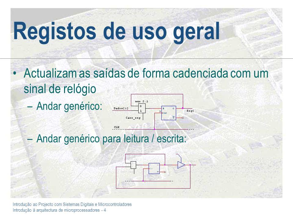 Introdução ao Projecto com Sistemas Digitais e Microcontroladores Introdução à arquitectura de microprocessadores - 4 Registos de uso geral Actualizam