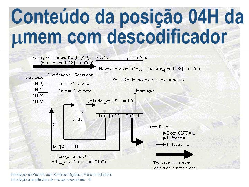 Introdução ao Projecto com Sistemas Digitais e Microcontroladores Introdução à arquitectura de microprocessadores - 41 Conteúdo da posição 04H da mem com descodificador