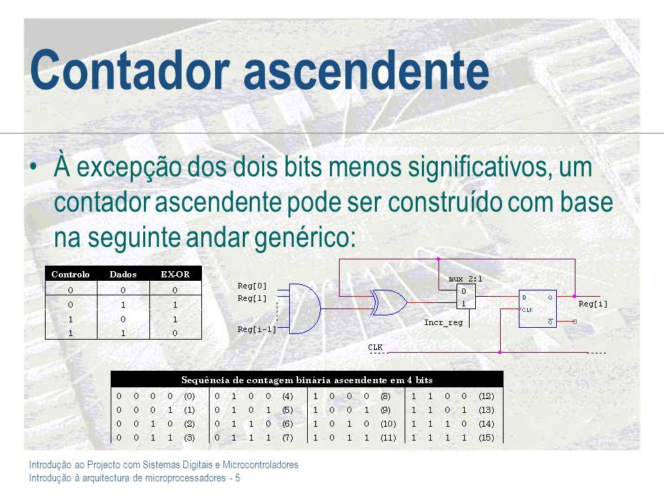 Introdução ao Projecto com Sistemas Digitais e Microcontroladores Introdução à arquitectura de microprocessadores - 5 Contador ascendente À excepção d