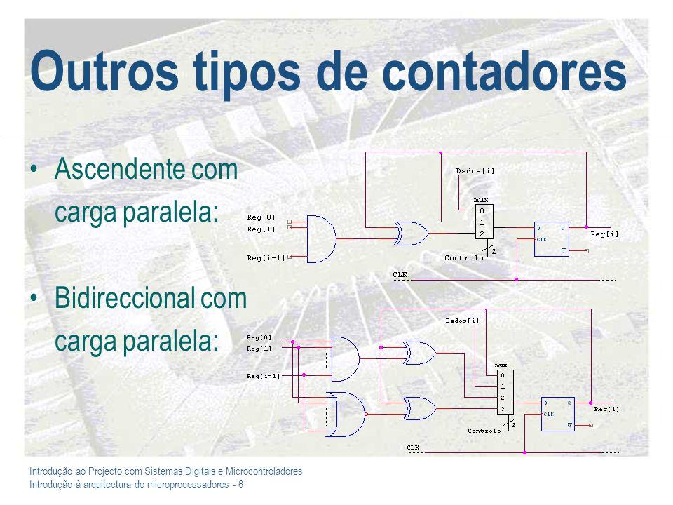 Introdução ao Projecto com Sistemas Digitais e Microcontroladores Introdução à arquitectura de microprocessadores - 6 Outros tipos de contadores Ascendente com carga paralela: Bidireccional com carga paralela:
