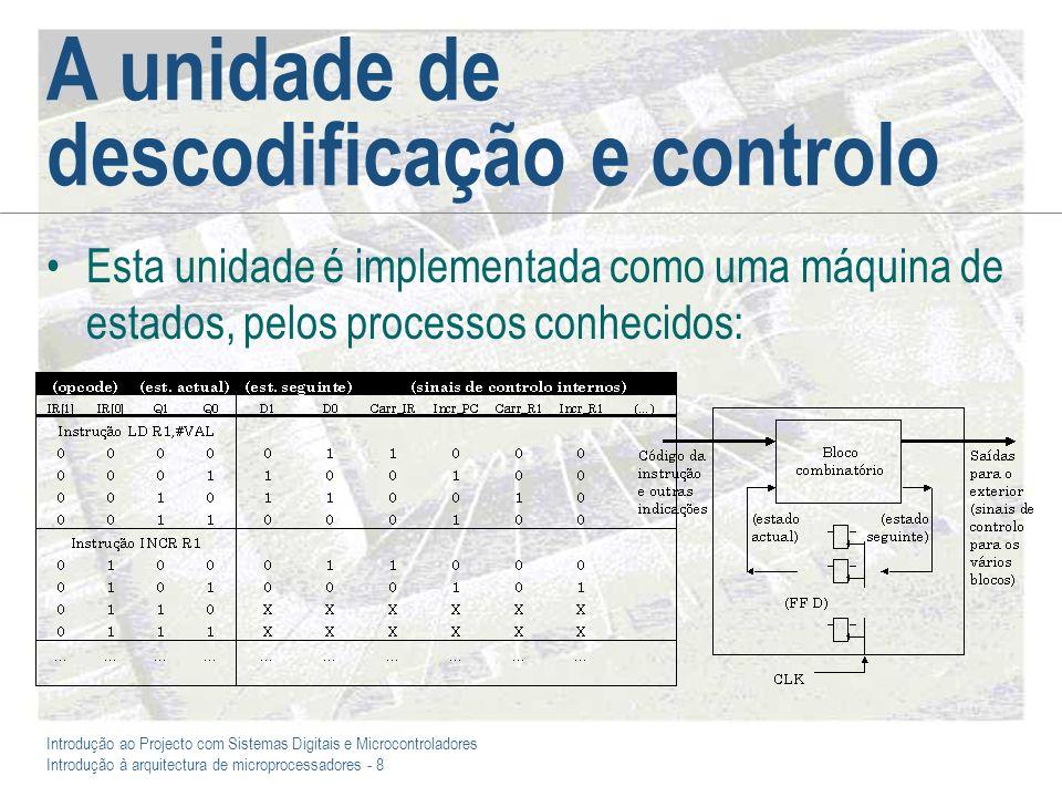 Introdução ao Projecto com Sistemas Digitais e Microcontroladores Introdução à arquitectura de microprocessadores - 8 A unidade de descodificação e controlo Esta unidade é implementada como uma máquina de estados, pelos processos conhecidos: