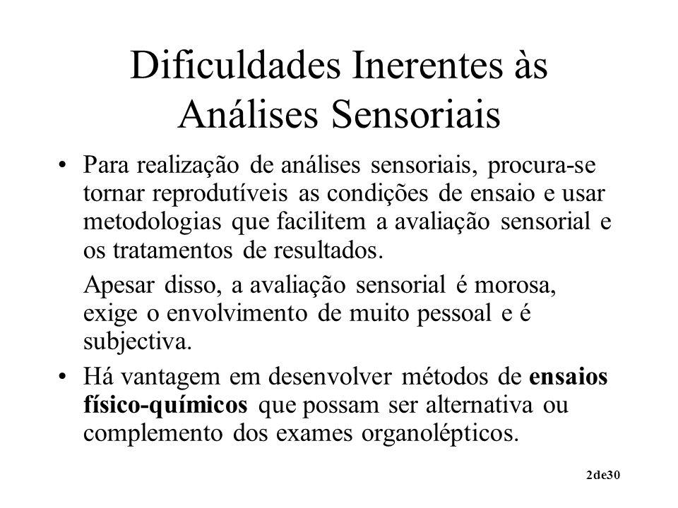 2de30 Dificuldades Inerentes às Análises Sensoriais Para realização de análises sensoriais, procura-se tornar reprodutíveis as condições de ensaio e u