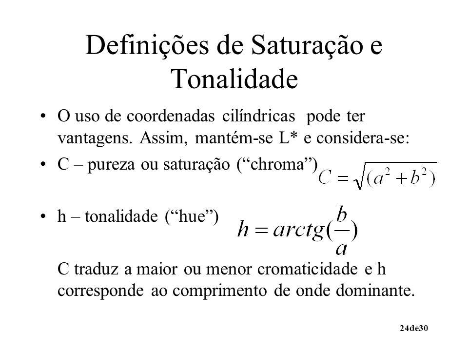 24de30 Definições de Saturação e Tonalidade O uso de coordenadas cilíndricas pode ter vantagens. Assim, mantém-se L* e considera-se: C – pureza ou sat