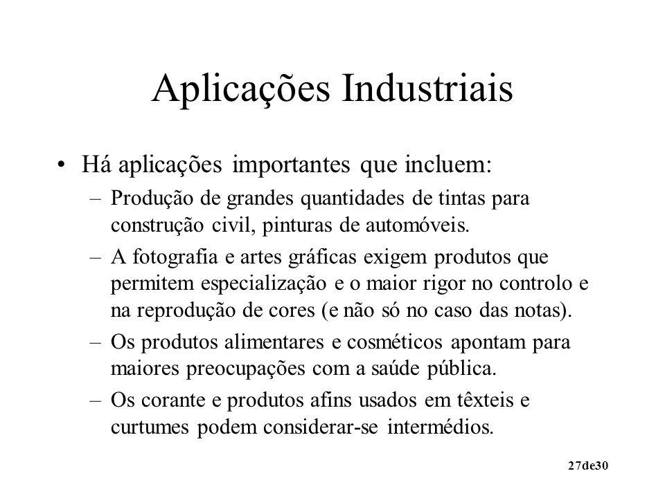 27de30 Aplicações Industriais Há aplicações importantes que incluem: –Produção de grandes quantidades de tintas para construção civil, pinturas de aut