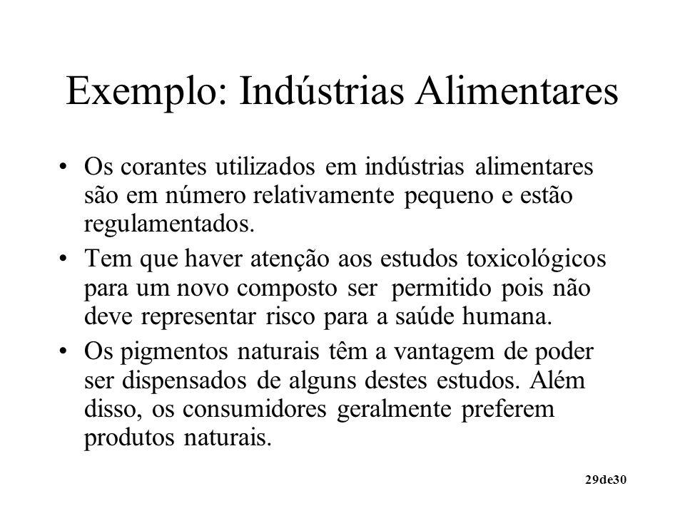 29de30 Exemplo: Indústrias Alimentares Os corantes utilizados em indústrias alimentares são em número relativamente pequeno e estão regulamentados. Te