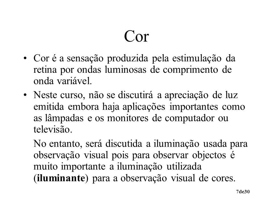 7de30 Cor Cor é a sensação produzida pela estimulação da retina por ondas luminosas de comprimento de onda variável. Neste curso, não se discutirá a a