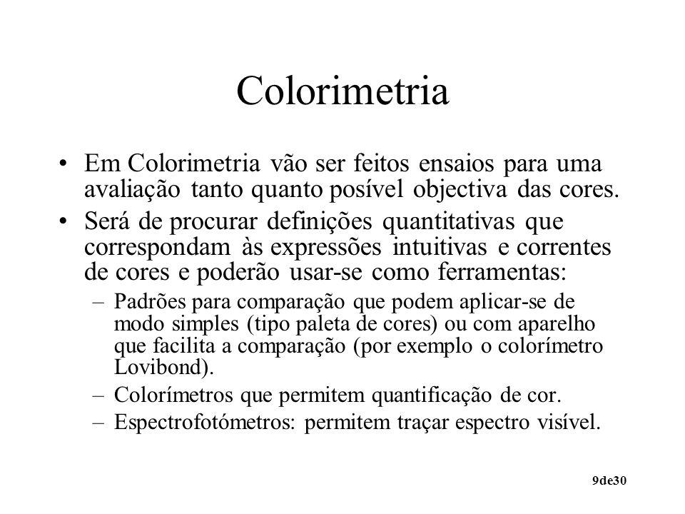 9de30 Colorimetria Em Colorimetria vão ser feitos ensaios para uma avaliação tanto quanto posível objectiva das cores. Será de procurar definições qua