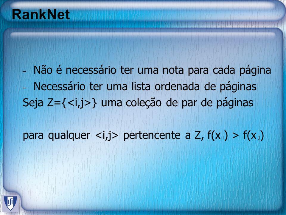 RankNet – Não é necessário ter uma nota para cada página – Necessário ter uma lista ordenada de páginas Seja Z={ } uma coleção de par de páginas para