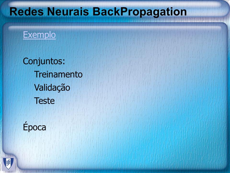 Redes Neurais BackPropagation Exemplo Conjuntos: Treinamento Validação Teste Época
