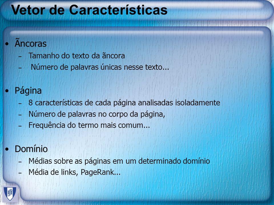 Vetor de Características Ãncoras – Tamanho do texto da ãncora – Número de palavras únicas nesse texto... Página – 8 características de cada página ana
