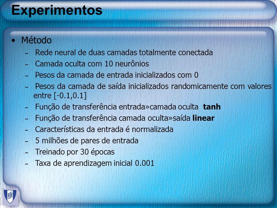 Experimentos Método – Rede neural de duas camadas totalmente conectada – Camada oculta com 10 neurônios – Pesos da camada de entrada inicializados com 0 – Pesos da camada de saída inicializados randomicamente com valores entre [-0.1,0.1] – Função de transferência entrada»camada oculta tanh – Função de transferência camada oculta»saída linear – Características da entrada é normalizada – 5 milhões de pares de entrada – Treinado por 30 épocas – Taxa de aprendizagem inicial 0.001