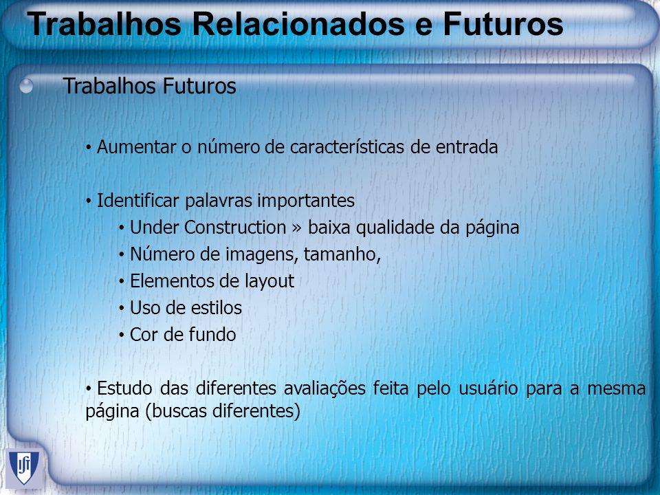 Trabalhos Relacionados e Futuros Trabalhos Futuros Aumentar o número de características de entrada Identificar palavras importantes Under Construction
