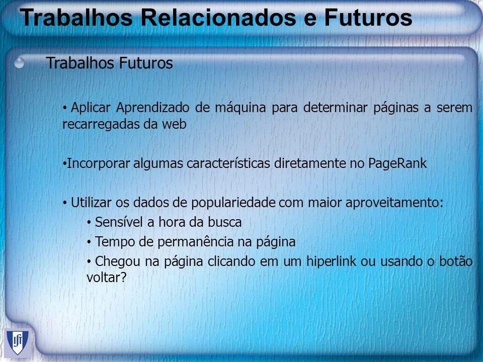 Trabalhos Relacionados e Futuros Trabalhos Futuros Aplicar Aprendizado de máquina para determinar páginas a serem recarregadas da web Incorporar algum