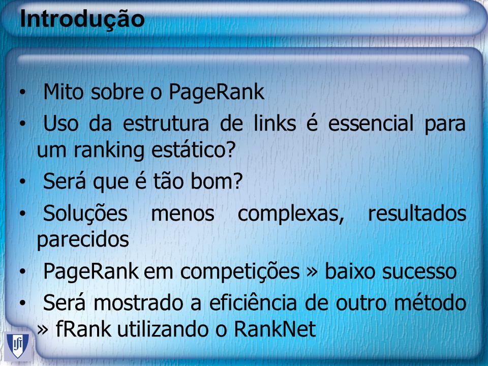 Introdução Mito sobre o PageRank Uso da estrutura de links é essencial para um ranking estático? Será que é tão bom? Soluções menos complexas, resulta