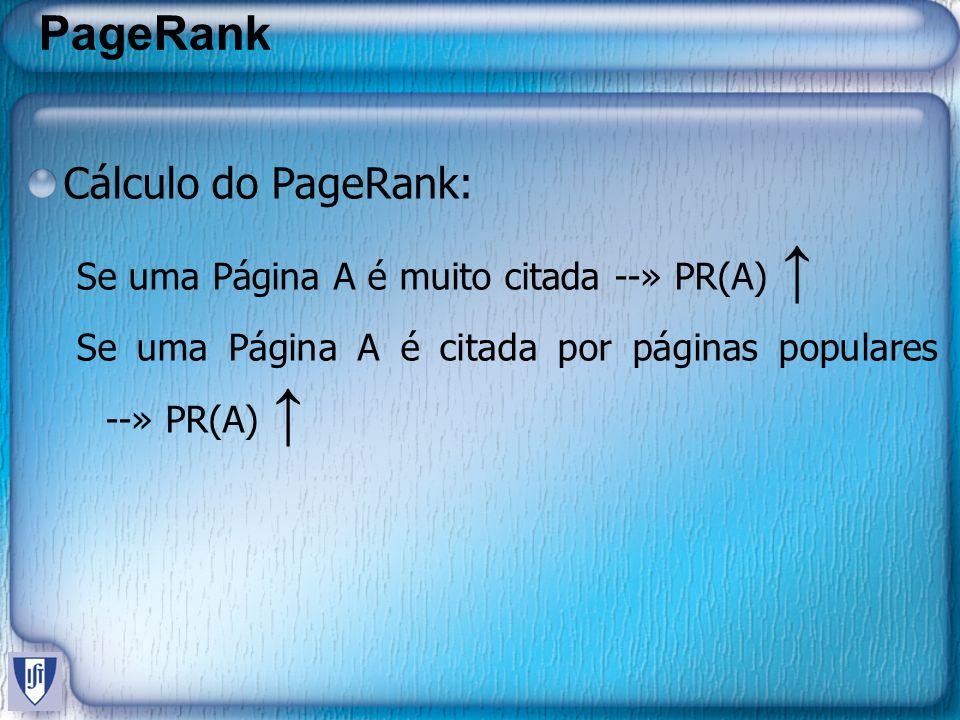 PageRank Problema: – Função Recursiva – Cada Página é iniciada com um PR igual – Aplica-se o algoritmo sucessivas vezes até atingir uma convergência – Trabalho relativamente lerdo, e computacionalmente caro