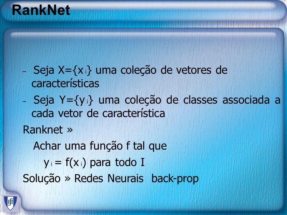 RankNet – Seja X={x i } uma coleção de vetores de características – Seja Y={y i } uma coleção de classes associada a cada vetor de característica Ranknet » Achar uma função f tal que y i = f(x i ) para todo I Solução » Redes Neurais back-prop