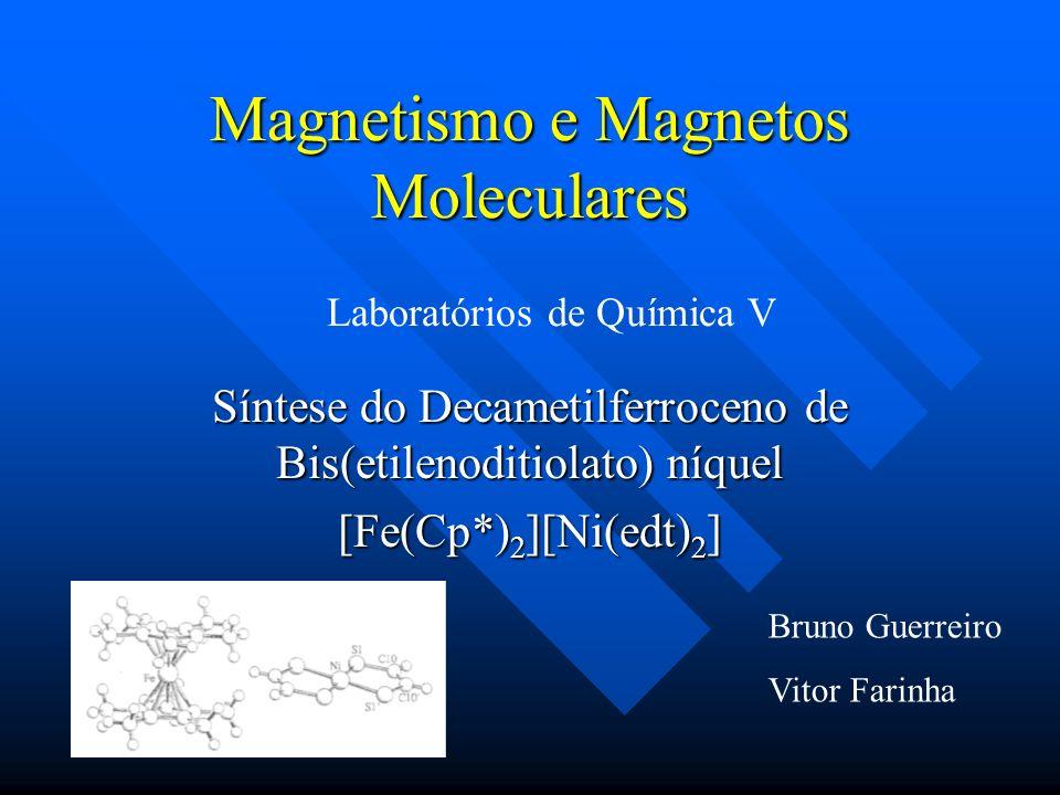 Compostos magnetos moleculares – Estrutura e Propriedades Magnetos mais comuns: Magnetos mais comuns: –Óxidos mistos da forma MFe 2 O 4 »M = Fe 2+, Ni 2+, Cu 2+ ou Mg 2+ –Estrutura semelhante à das espinelas: MgAl 2 O 4 –Síntese por métodos que envolvem temperaturas elevadas