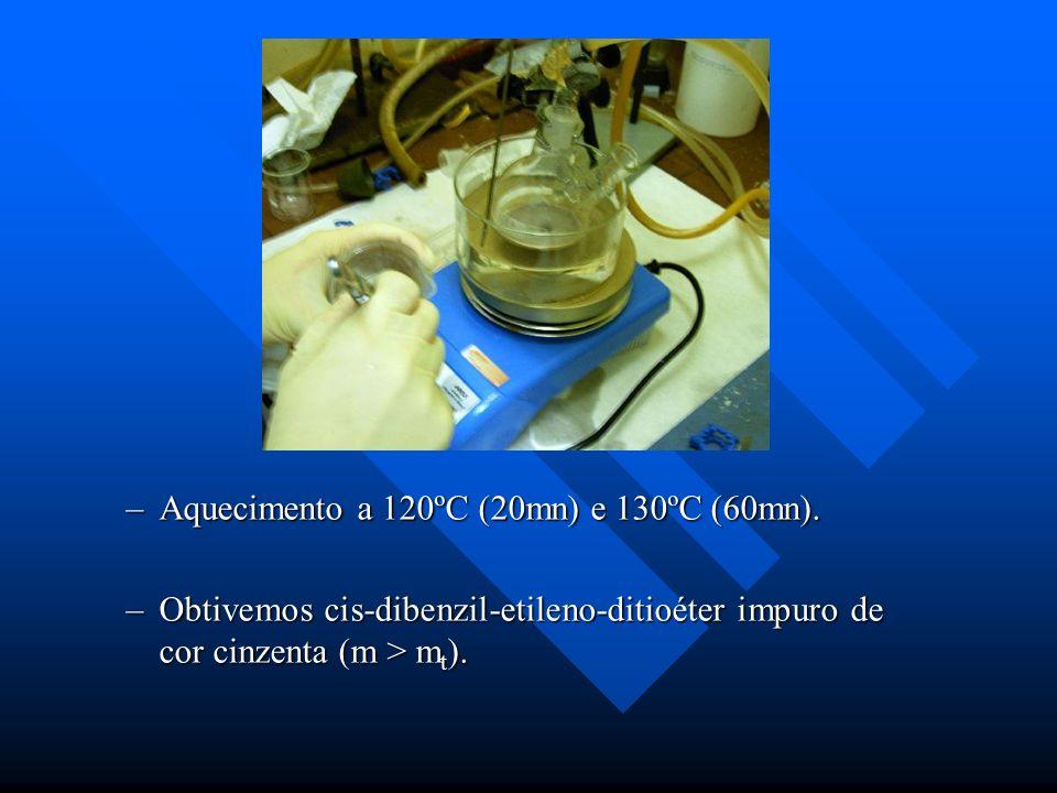 –Aquecimento a 120ºC (20mn) e 130ºC (60mn). –Obtivemos cis-dibenzil-etileno-ditioéter impuro de cor cinzenta (m > m t ).