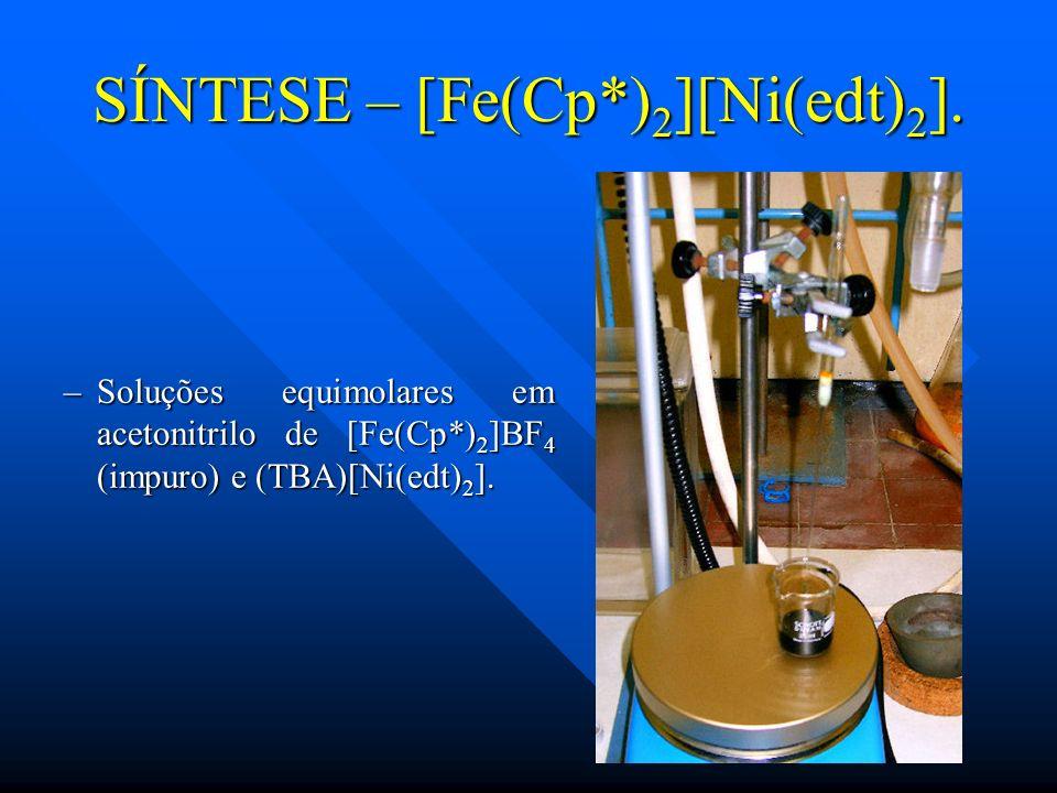 –Soluções equimolares em acetonitrilo de [Fe(Cp*) 2 ]BF 4 (impuro) e (TBA)[Ni(edt) 2 ]. SÍNTESE – [Fe(Cp*) 2 ][Ni(edt) 2 ].