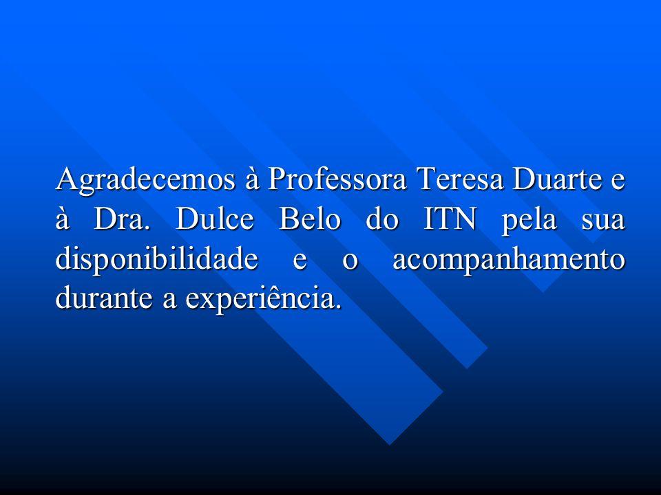 Agradecemos à Professora Teresa Duarte e à Dra. Dulce Belo do ITN pela sua disponibilidade e o acompanhamento durante a experiência. Agradecemos à Pro