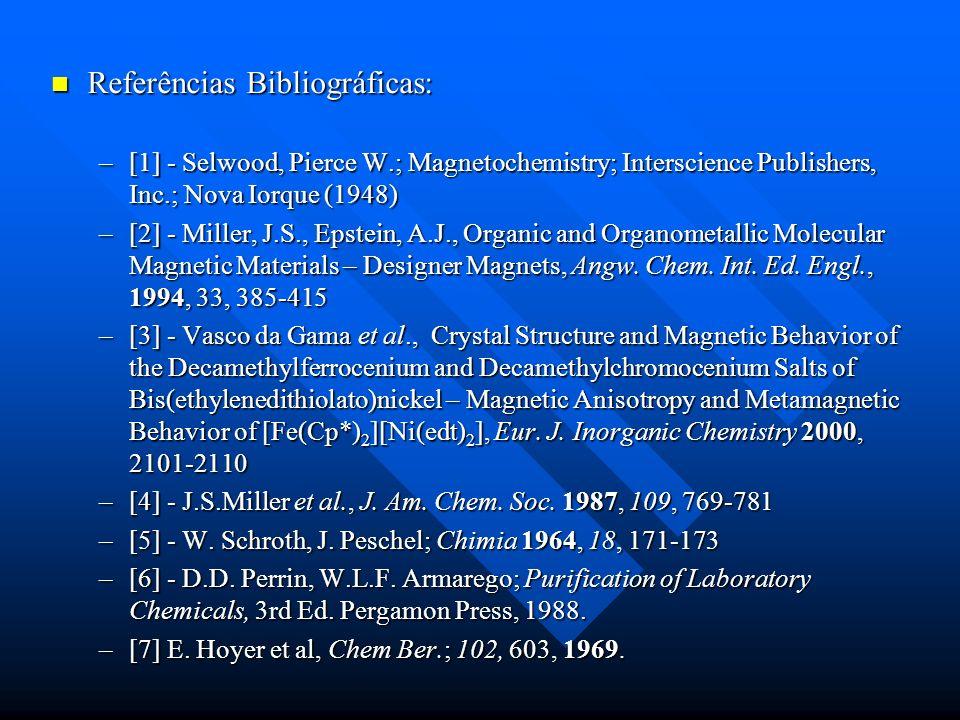 Referências Bibliográficas: Referências Bibliográficas: –[1] - Selwood, Pierce W.; Magnetochemistry; Interscience Publishers, Inc.; Nova Iorque (1948)