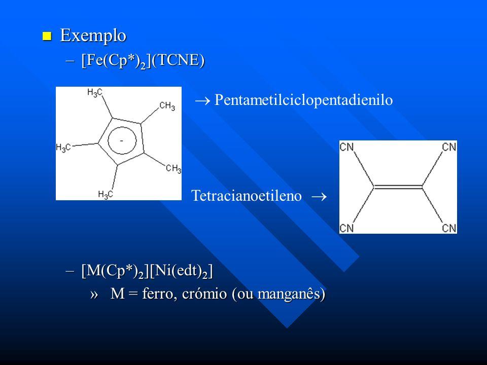 Exemplo Exemplo –[Fe(Cp*) 2 ](TCNE) –[M(Cp*) 2 ][Ni(edt) 2 ] » M = ferro, crómio (ou manganês) Pentametilciclopentadienilo Tetracianoetileno
