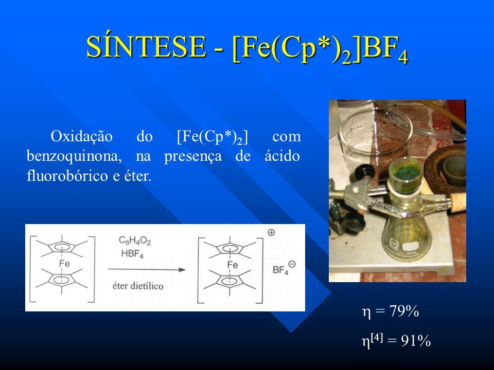 SÍNTESE - [Fe(Cp*) 2 ]BF 4 Oxidação do [Fe(Cp*) 2 ] com benzoquinona, na presença de ácido fluorobórico e éter. = 79% η [4] = 91%