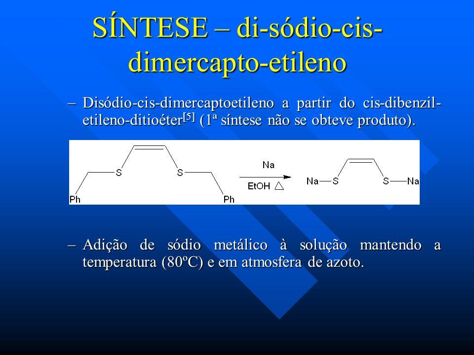 –Disódio-cis-dimercaptoetileno a partir do cis-dibenzil- etileno-ditioéter [5] (1ª síntese não se obteve produto). –Adição de sódio metálico à solução