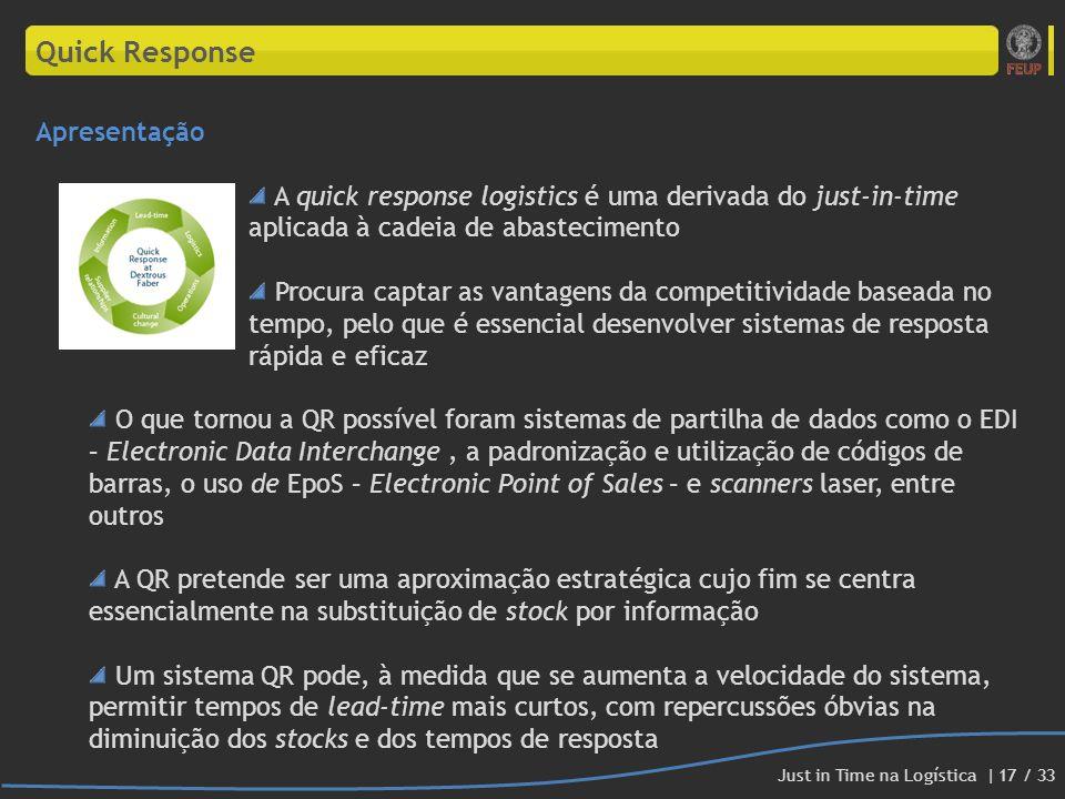 Quick Response Apresentação A quick response logistics é uma derivada do just-in-time aplicada à cadeia de abastecimento Procura captar as vantagens d