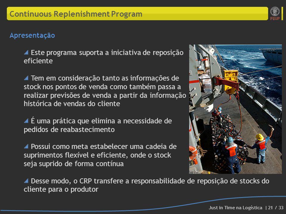 Continuous Replenishment Program Apresentação Este programa suporta a iniciativa de reposição eficiente Tem em consideração tanto as informações de st