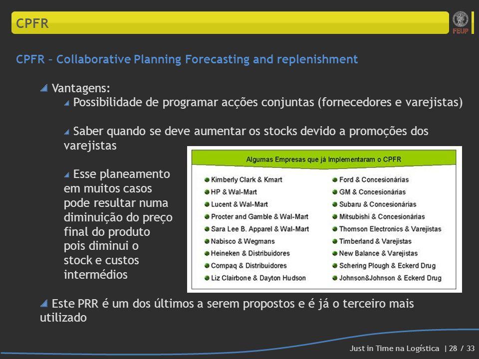 CPFR CPFR – Collaborative Planning Forecasting and replenishment Vantagens: Possibilidade de programar acções conjuntas (fornecedores e varejistas) Sa
