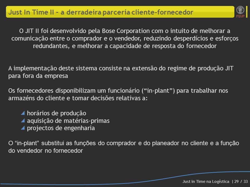 Just In Time II – a derradeira parceria cliente-fornecedor O JIT II foi desenvolvido pela Bose Corporation com o intuito de melhorar a comunicação ent