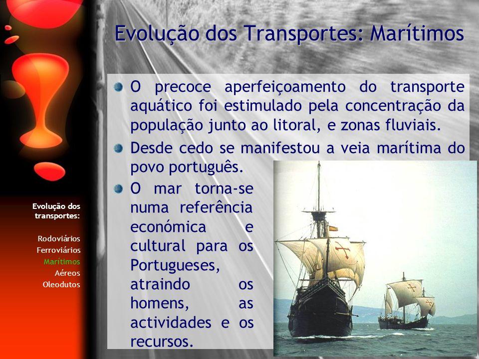 Evolução dos transportes: Rodoviários Ferroviários Marítimos Aéreos Oleodutos O precoce aperfeiçoamento do transporte aquático foi estimulado pela con