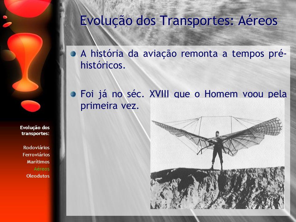 Evolução dos transportes: Rodoviários Ferroviários Marítimos Aéreos Oleodutos A história da aviação remonta a tempos pré- históricos. Foi já no séc. X