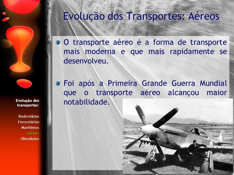 Evolução dos transportes: Rodoviários Ferroviários Marítimos Aéreos Oleodutos O transporte aéreo é a forma de transporte mais moderna e que mais rapid