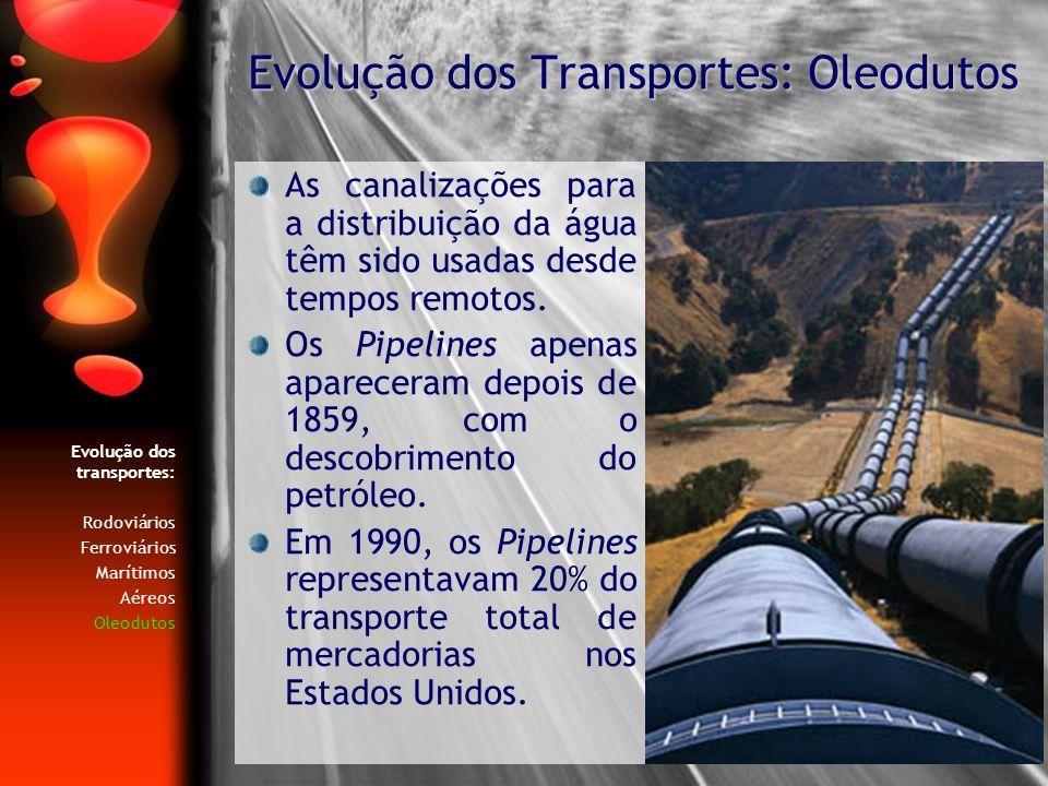 As canalizações para a distribuição da água têm sido usadas desde tempos remotos. Os Pipelines apenas apareceram depois de 1859, com o descobrimento d
