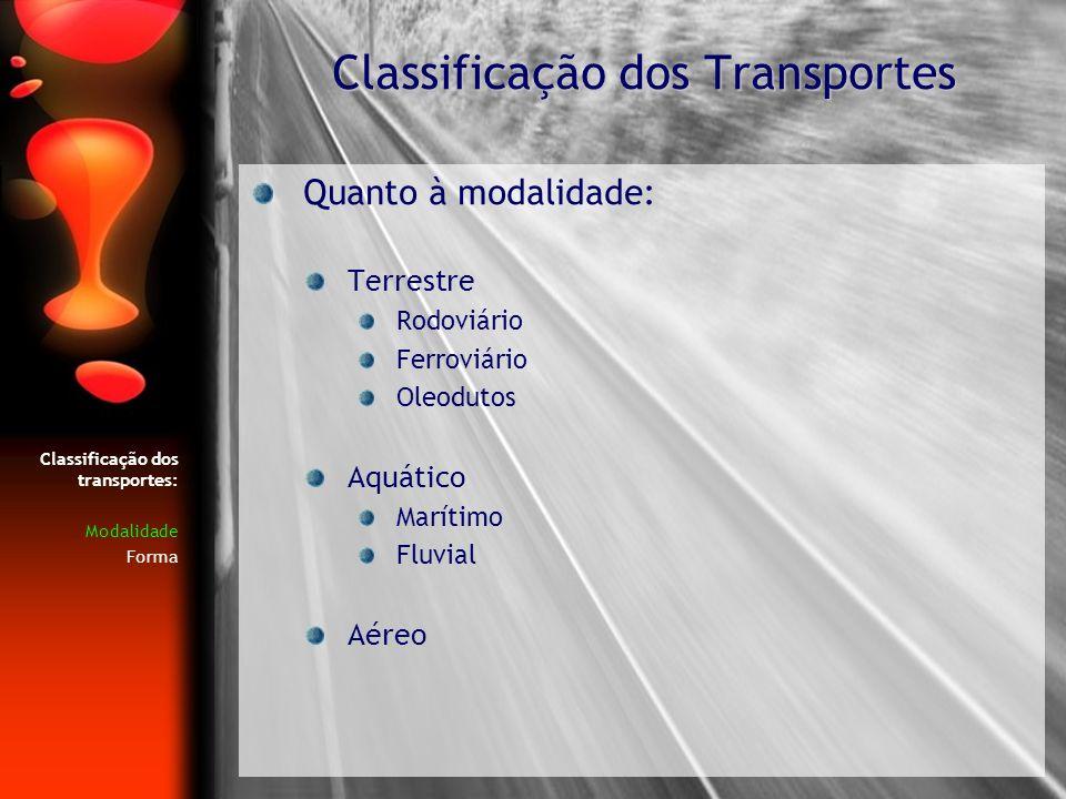 Quanto à modalidade: Terrestre Rodoviário Ferroviário Oleodutos Aquático Marítimo Fluvial Aéreo Classificação dos Transportes Classificação dos transp