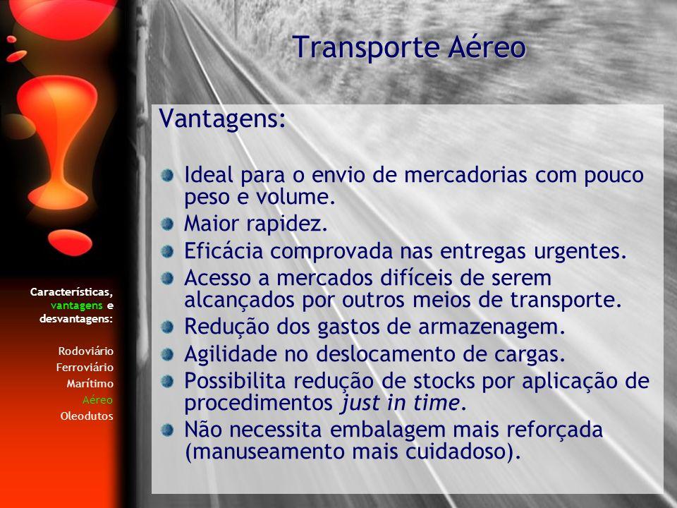 Características, vantagens e desvantagens: Rodoviário Ferroviário Marítimo Aéreo Oleodutos Vantagens: Ideal para o envio de mercadorias com pouco peso