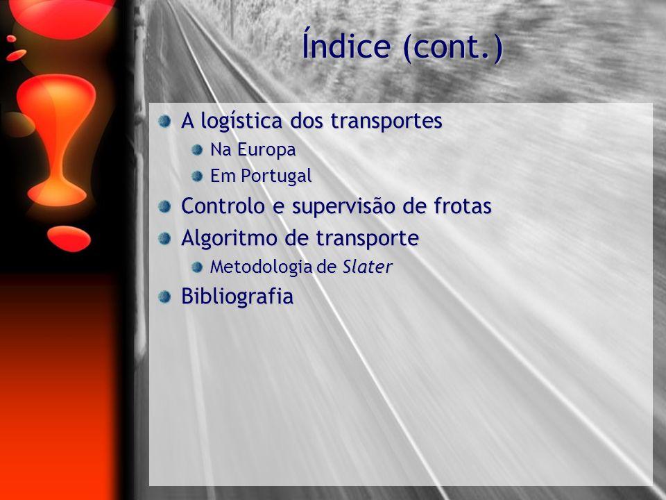 Índice (cont.) A logística dos transportes Na Europa Em Portugal Controlo e supervisão de frotas Algoritmo de transporte Metodologia de Slater Bibliog