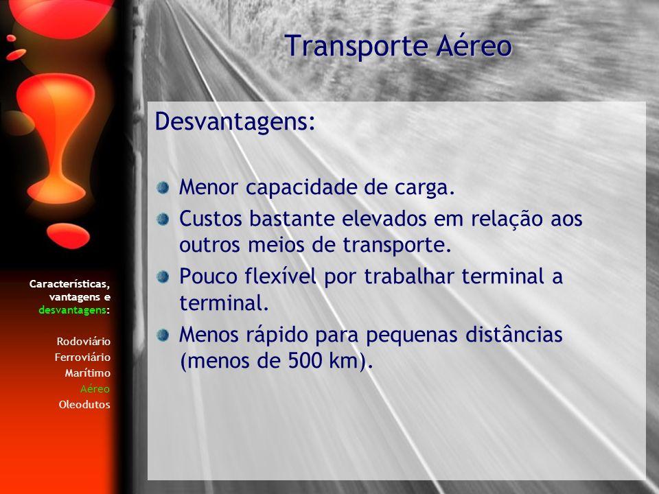 Características, vantagens e desvantagens: Rodoviário Ferroviário Marítimo Aéreo Oleodutos Desvantagens: Menor capacidade de carga. Custos bastante el